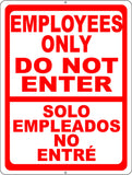 Bilingual Employees Only Do Not Enter Sign - Signs & Decals by SalaGraphics