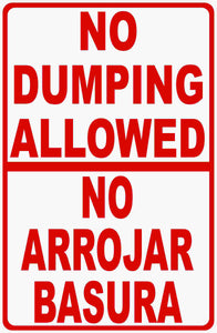 English Spanish No Dumping Allowed Sign
