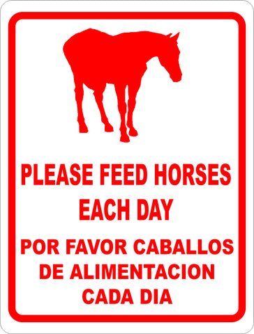 Bilingual Please Feed Horses Each Day Bilingual Sign English & Spanish
