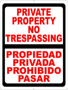 Bilingual Private Property Sign English & Spanish