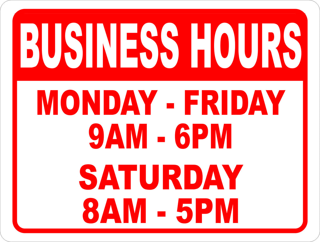 Custom business hours sign signs by salagraphics for V bathroom opening hours