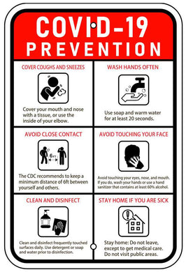 COVID 19 Prevention Sign 12x18 Reflective Heavy Duty