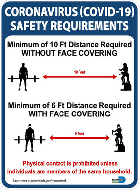 Coronavirus Safety Requirements Gym Miami Dade County Sign