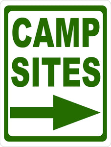 Camp Sites Sign w/ Directional Arrow - Signs & Decals by SalaGraphics
