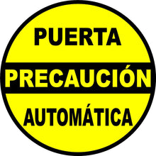 Caution Automatic Door Decal Multi-Pack (5 per pack) English or Spanish