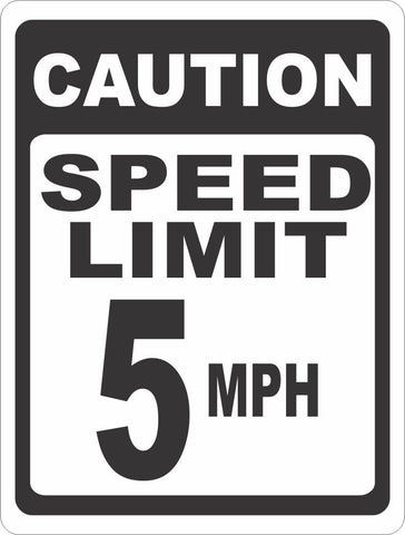 Caution Speed Limit 5 MPH Sign