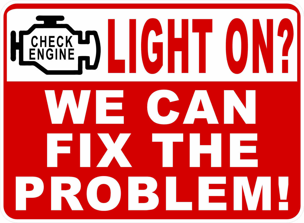 Check Engine Light Auto Repair Sign