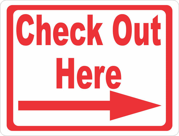 Check out here sign with arrow signs by salagraphics
