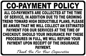 Insurance Copayment Policy Sign