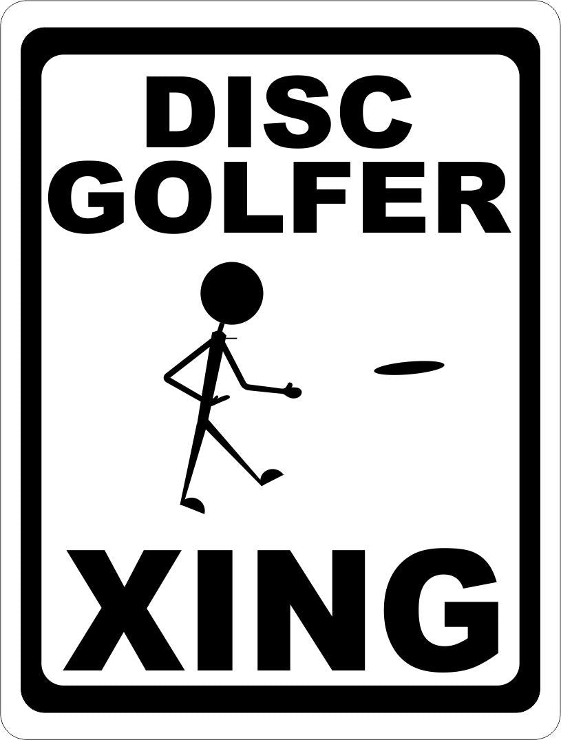 Disc Golfer Xing Crossing Sign - Signs & Decals by SalaGraphics