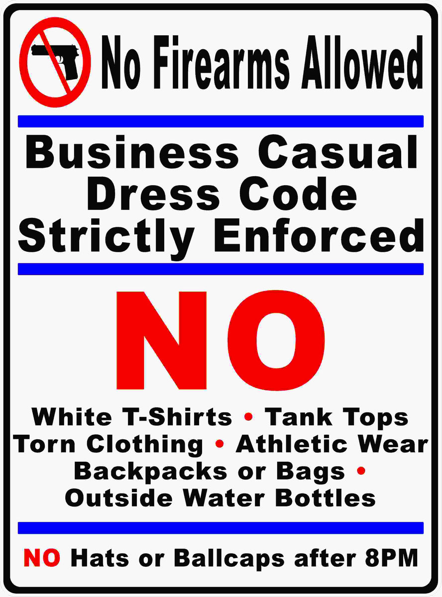 Custom Dress Code Policy Sign Signs By Salagraphics