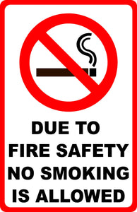 Due to Fire Safety No Smoking Allowed Sign. w/ Symbol - Signs & Decals by SalaGraphics