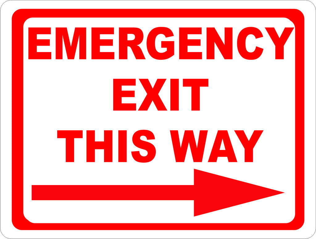 Emergency Exit This Way w/ Right or Left Arrow Sign – Signs by ...