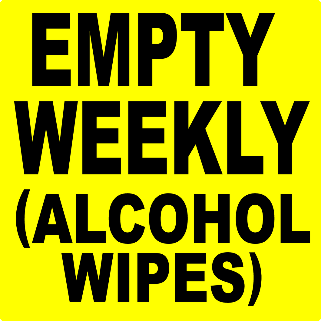 Empty Weekly Alcohol Wipes Decal
