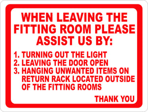 Fitting Rooms Rules Sign - Signs & Decals by SalaGraphics