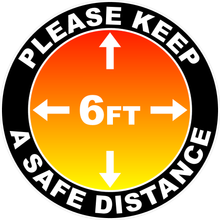 Please Keep A Safe Distance of 6 Ft Outdoor/Warehouse Floor Decal Multi-Pack (5 per pack) English, Spanish or Bilingual