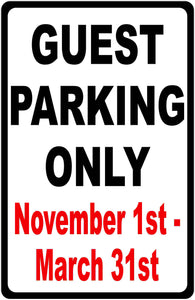 Guest Parking Only Sign with Seasonal Dates - Signs & Decals by SalaGraphics
