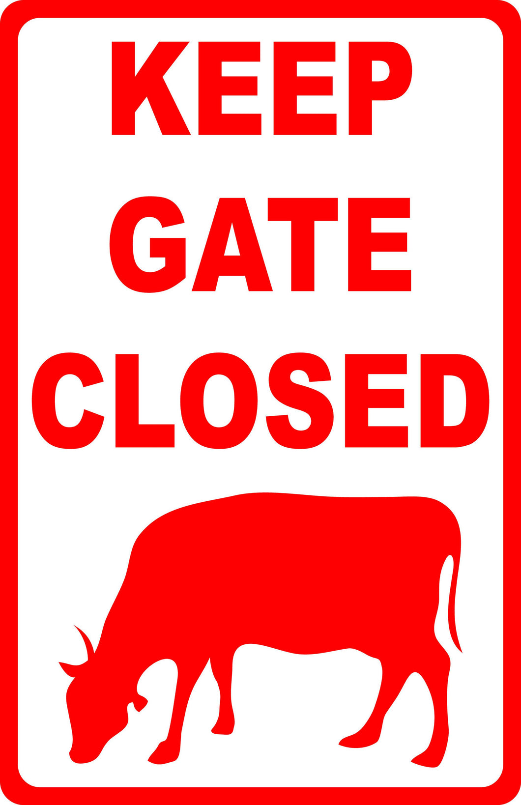 Keep Gate Closed with Cow Image - Signs & Decals by SalaGraphics