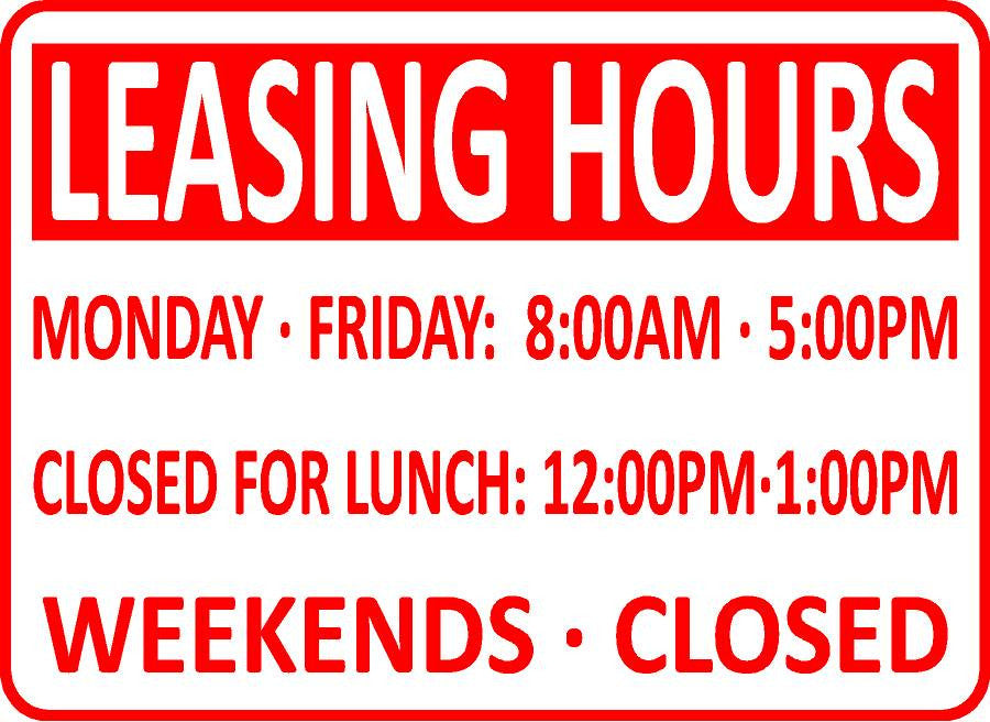 Leasing Office Hours Sign