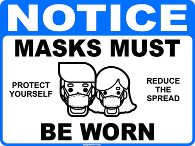 Notice Masks Must Be Worn Social Distancing Decal Multi-Pack (5 per pack) English or Spanish
