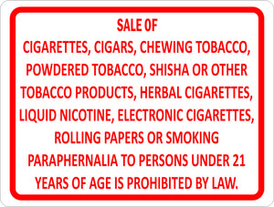 Smoking Product Sales Regulations Sign - Signs & Decals by SalaGraphics