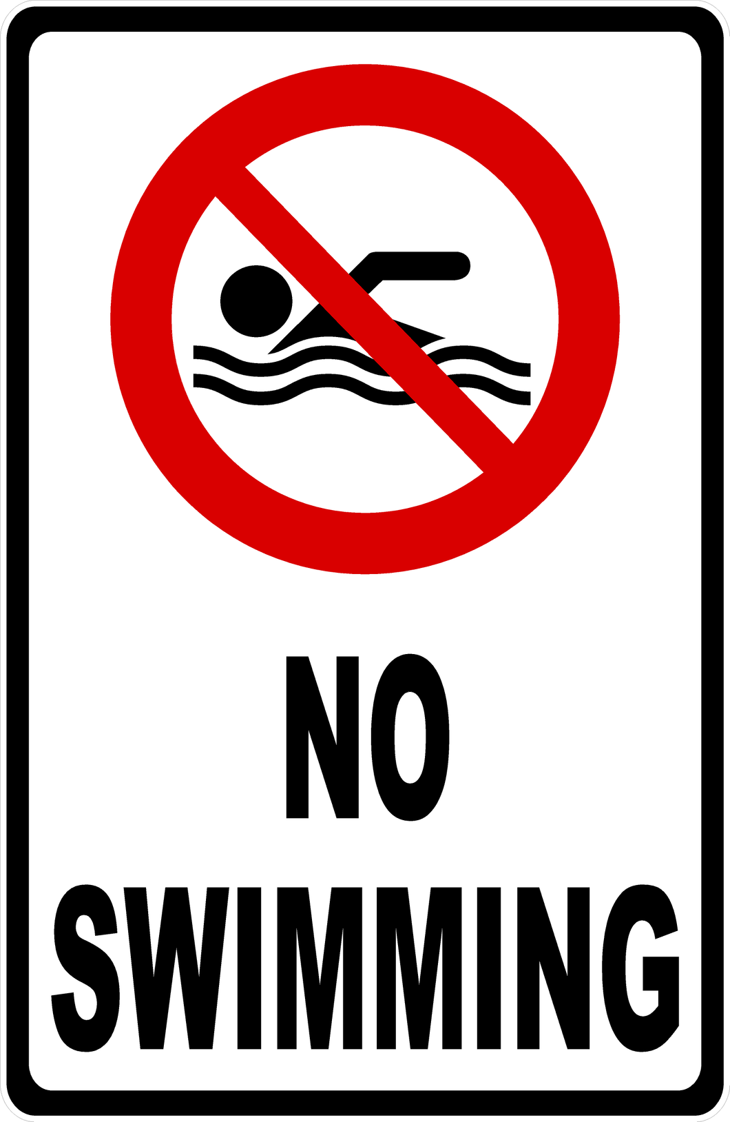 No Swimming Sign with Symbol