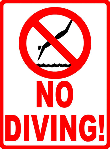 No Diving w/ Symbol Pool Safety Sign