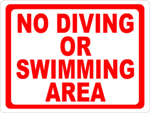 No Diving or Swimming Area Sign - Signs & Decals by SalaGraphics