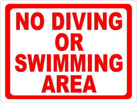 No Diving or Swimming Area Sign