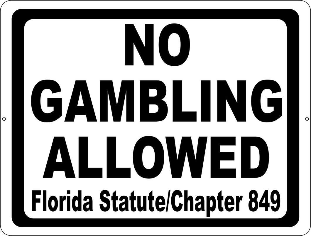No Gambling Sign in Accordance with Florida Statute 849.085 - Signs & Decals by SalaGraphics