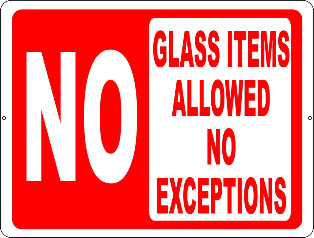 No Glass Items Allowed No Exceptions Pool Sign - Signs & Decals by SalaGraphics