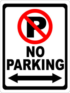 No Parking Sign with Symbol and Arrow