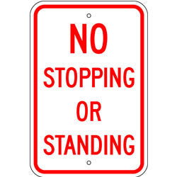 No Stopping or Standing Sign