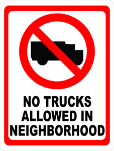 No Delivery Trucks Sign by Sala Graphics
