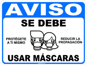 Notice Masks Must Be Worn Social Distancing Sign English or Spanish