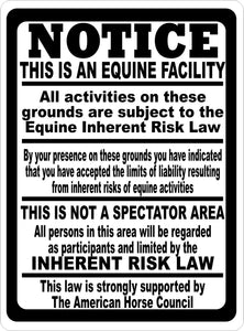 Notice This is a Equine Facility Sign - Signs & Decals by SalaGraphics