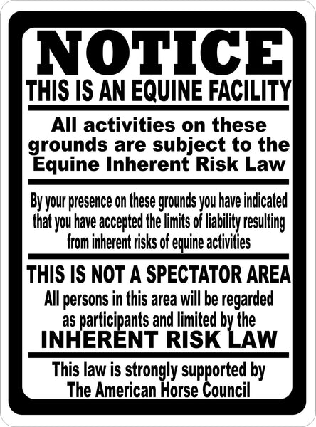 Notice This Is A Equine Facility Sign Signs By Salagraphics