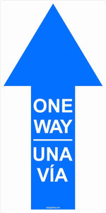 "One Way Directional Arrow Outdoor Floor Decal 6""x12"" 5-Pack English, Spanish or Bilingual"