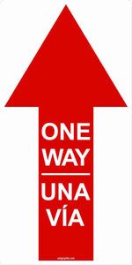"One Way Directional Arrow Indoor Floor Decal 6""x12"" 5-Pack English, Spanish or Bilingual"