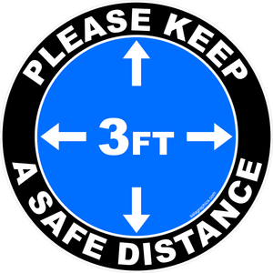 Please Keep A Safe Distance of 3 Foot Indoor Floor Decal Multi-Pack (5 per pack) New School Regulation