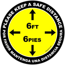 Please Keep A Safe Distance of 6 Ft Indoor Floor Decal Multi-Pack (5 per pack) English, Spanish or Bilingual