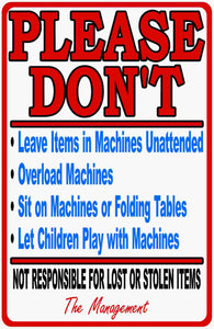 Laundromat Rules & Liability Sign