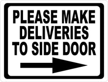 Please Make Deliveries to Side Door Sign w/ Directional Arrow - Signs & Decals by SalaGraphics