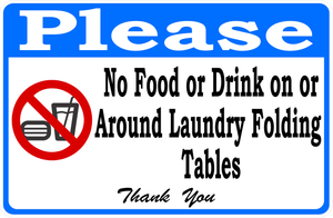No Food or Drink Laundromat Sign