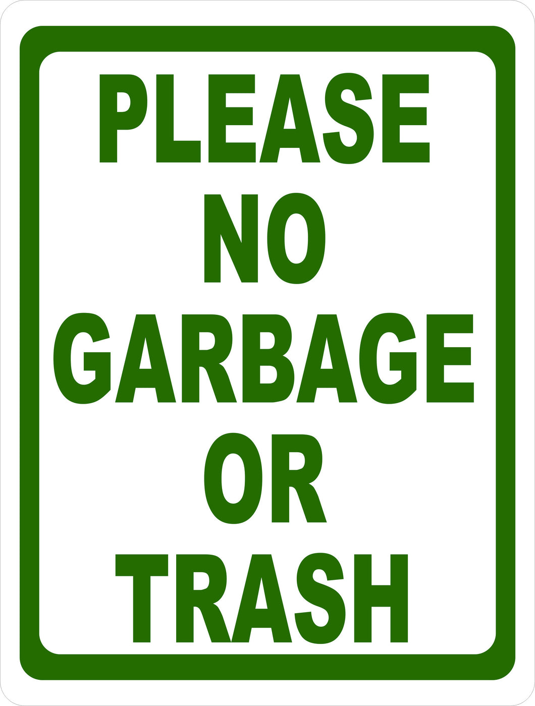 Please No Garbage or Trash Sign