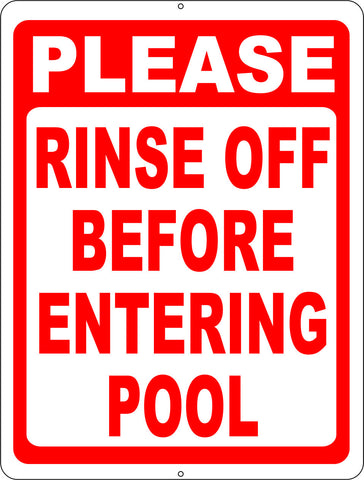Please Rinse Off Before Entering Pool Sign