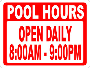 Pool Hours Sign - Signs & Decals by SalaGraphics