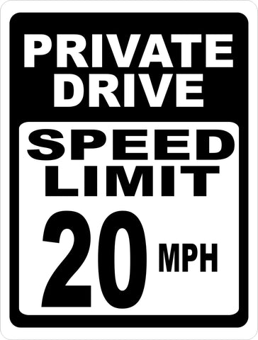 Private Drive Speed Limit 20 MPH Sign