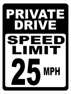 Private Drive Speed Limit 25 MPH Sign