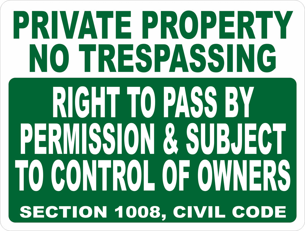 Right to Pass Civil Code 1008 California Sign